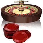 Immagine con una roulette a delle fiches in primo piano.